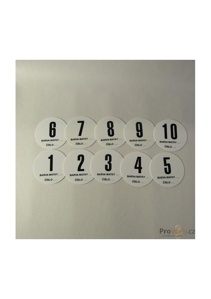 Úlová čísla sada 1-10 plast