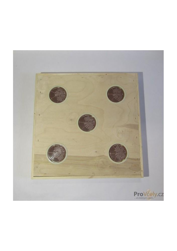 Krmné víko s 5 otvory pro úl 39x zateplený 2cm i CD